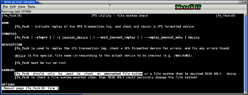 Debian man page warns that JFS partition should be unmounted.