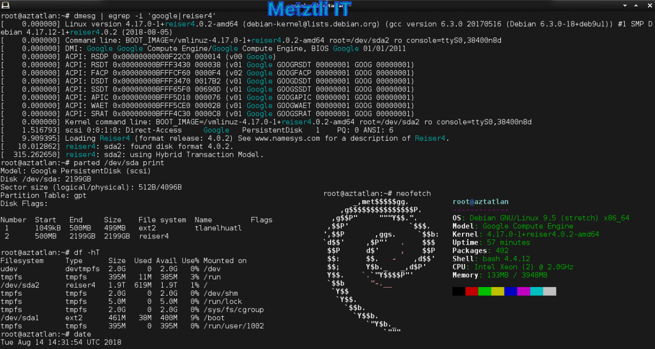 Aztatlan: Metztli - Reiser4 / Zstd Serial Log Output From Successful 2TB Google Cloud Image First Boot.