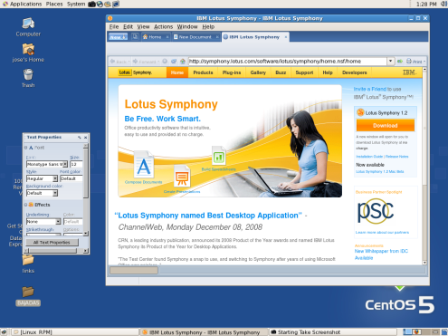 IBM Lotus Symphony 1.2 integrated browser from Home tab.