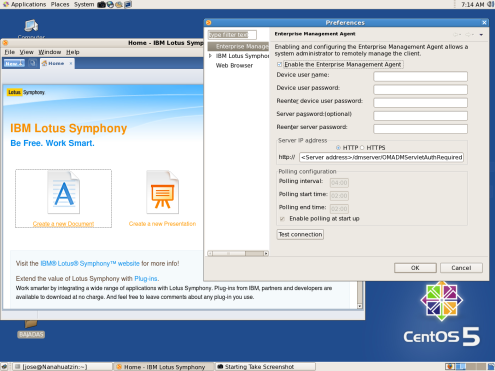 Symphony menu: File - Preferences - Enterprise Management Agent.