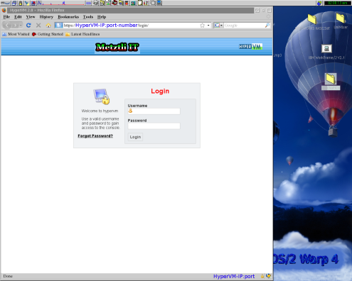 HyperVM web interface login screen.
