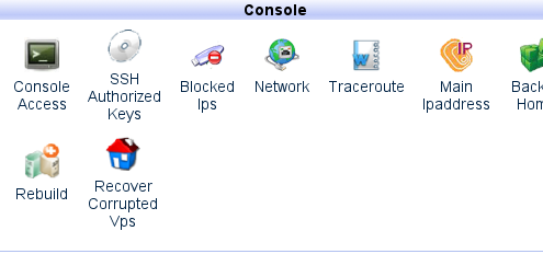 HyperVM Home tab: Console section Rebuild icon.