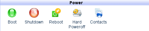 HyperVM Home tab: Power section Reboot icon.