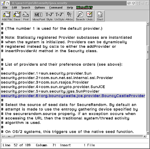 Editing java.security with OS/2 EPM editor.