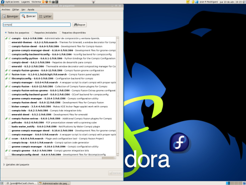compiz fusion in Fedora 8 package management.