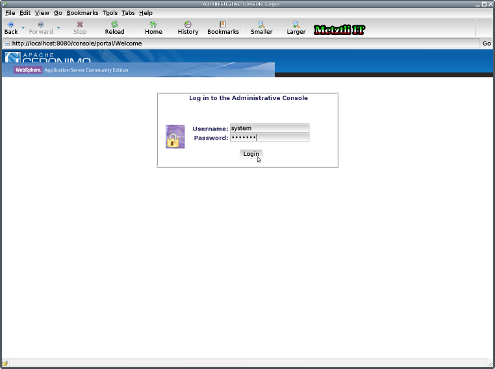 WebSphere Application Server CE Log in Web Page.