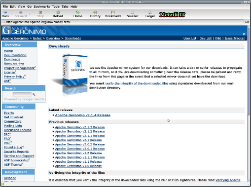 Apache Gernonimo Application Server Download Area.