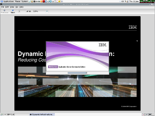 IBM WebSphere Application Server CE splash install screen.