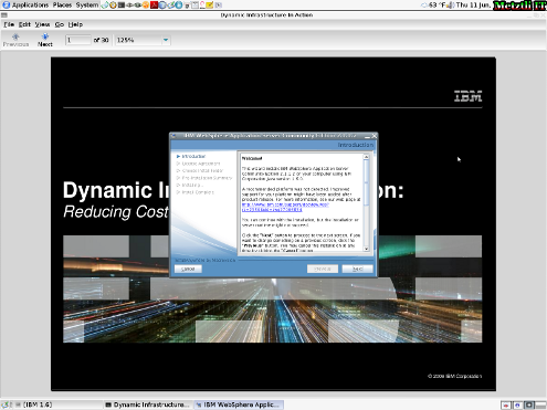 IBM WebSphere Application Server CE installation Welcome screen.