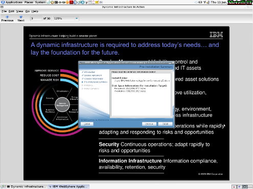 IBM WebSphere Application Server CE: Pre-Installation Summary.