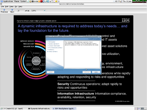 IBM WebSphere Application Server CE: Installation Complete.