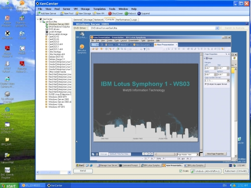 WS03 32-bit and IBM Lotus Symphony 1 under XenServer.