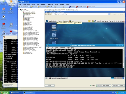 64-bit Fedora 9 Sulphur into XenServer 4.1 virtual environment.