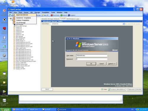 XenCenter way of sending the WS03 virtual machine an log in dierective.