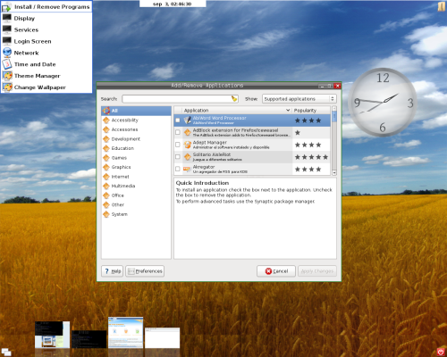 SymphonyOne 2008.1: select applications to install/remove from upper left menu.