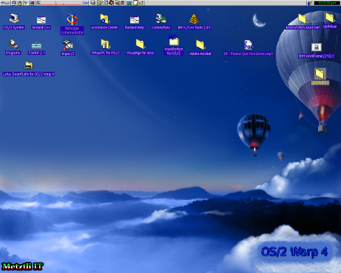OS/2 Warp 4, aka Merlin, and Fedora 6 background.