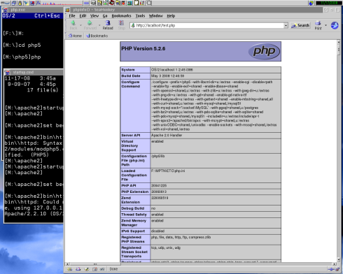 Apache & PHP on OS/2 work as evidenced test.php extracted environment variables.