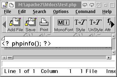 Contents of test.php file in OS/2's EPM editor.