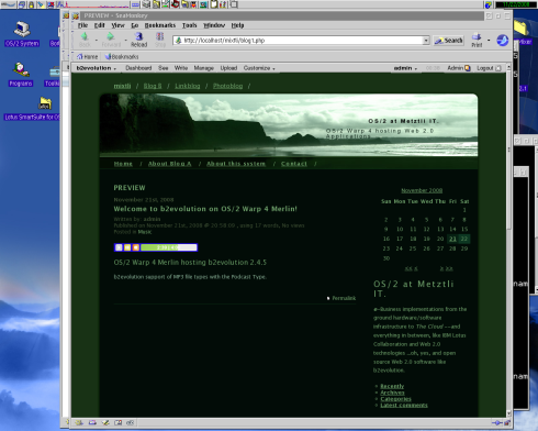 B2evolution 2.4.5 on OS/2 2.4.5 with Mixtli (Cloud) in background.